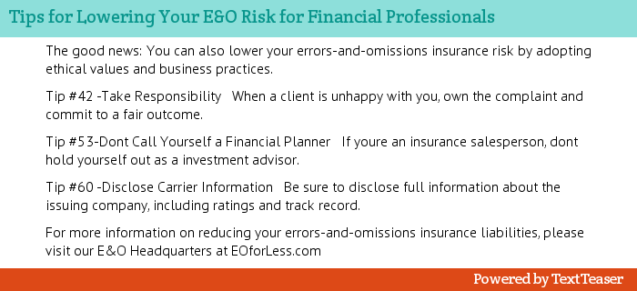 Summary of Article for Lowering E&O Insurance Risk